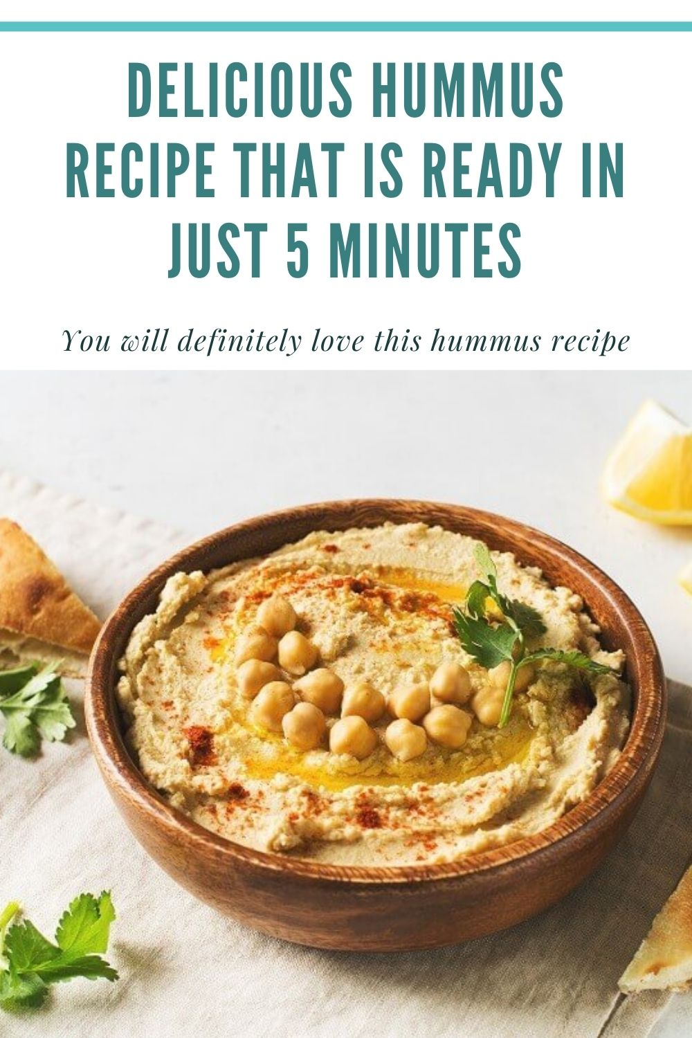A delicious hummus recipe that is ready in just 5 minutes