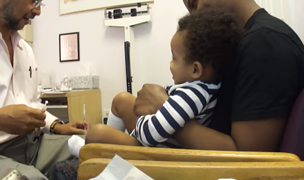 This little boy was scared of vaccination... but wait to see what the doctor does to calm him down