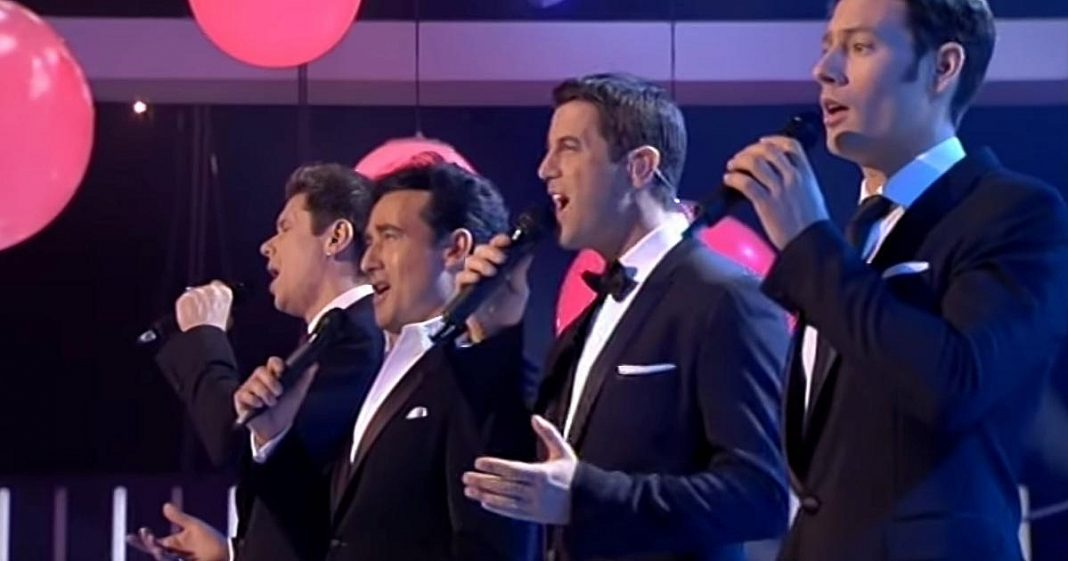 4 men sing a famous song from 1974. At the middle of the song, you get the thrills